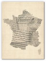 Huge Old Sheet Music Map of France (Canvas)