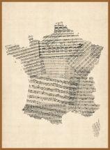Large Old Sheet Music Map of France (Pinboard & wood frame - Teak)