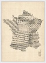 Medium Old Sheet Music Map of France (Wood Frame - White)