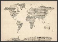 Large Old Sheet Music Map of the World (Wood Frame - Black)