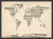 Medium Old Sheet Music Map of the World (Wood Frame - Black)