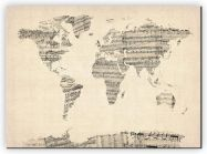 Large Old Sheet Music Map of the World (Canvas)