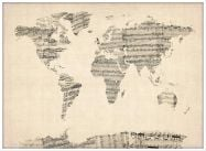 Large Old Sheet Music Map of the World (Pinboard & wood frame - White)