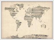 Medium Old Sheet Music Map of the World (Wood Frame - White)