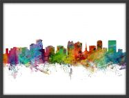 Medium Orlando Florida Watercolour Skyline (Pinboard & wood frame - Black)