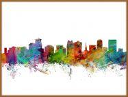 Large Orlando Florida Watercolour Skyline (Pinboard & wood frame - Teak)
