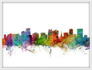 Medium Orlando Florida Watercolour Skyline (Pinboard & wood frame - White)