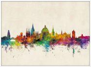 Large Oxford City Skyline (Wood Frame - White)