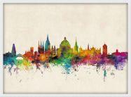 Medium Oxford City Skyline (Wood Frame - White)