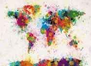 Medium Paint Splashes Map of the World (Rolled Canvas - No Frame)
