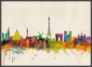 Large Paris City Skyline (Wood Frame - Black)