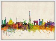 Medium Paris City Skyline (Wood Frame - White)