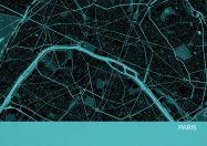 A4 Paris City Street Map Print Turquoise (Matt Art Paper)