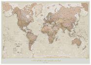 Large Personalised Antique World Map (Wood Frame - White)