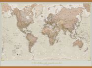 Large Personalised Antique World Map (Wooden hanging bars)
