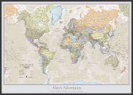 Large Personalised Classic World Map (Wood Frame - Black)