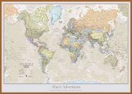 Large Personalised Classic World Map (Wood Frame - Teak)
