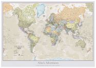 Large Personalised Classic World Map (Wood Frame - White)