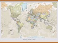 Large Personalised Classic World Map (Wooden hanging bars)