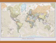 Medium Personalised Classic World Map (Wooden hanging bars)