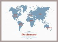 Small Personalised Travel Map of the World - Denim (Pinboard & framed - Silver)