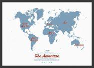 Medium Personalised Travel Map of the World - Denim (Wood Frame - Black)
