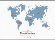 Huge Personalised Travel Map of the World - Denim (Hanging bars)