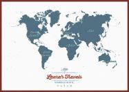 Huge Personalised Travel Map of the World - Teal (Pinboard & framed - Dark Oak)