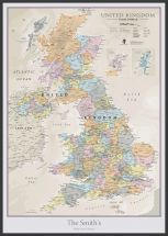 Large Personalised UK Classic Wall Map (Pinboard & wood frame - Black)