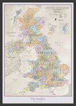 Medium Personalised UK Classic Wall Map (Wood Frame - Black)