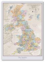 Medium Personalised UK Classic Wall Map (Canvas)