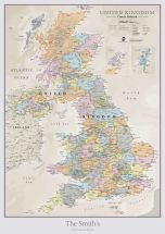 Personalised UK Classic Wall Map
