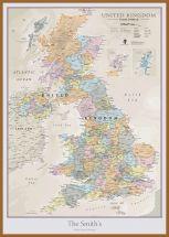 Large Personalised UK Classic Wall Map (Pinboard & wood frame - Teak)