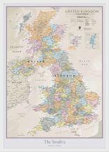 Medium Personalised UK Classic Wall Map (Wood Frame - White)