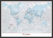 Medium Personalised World Is Art - Wall Map Aqua (Wood Frame - Black)