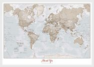 Small Personalised World Is Art - Wall Map Neutral (Wood Frame - White)