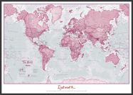 Large Personalised World Is Art - Wall Map Pink (Wood Frame - Black)