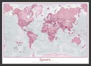 Medium Personalised World Is Art - Wall Map Pink (Pinboard & wood frame - Black)