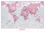 Large Personalised World Is Art - Wall Map Pink (Wood Frame - White)