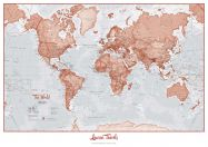 Personalised World Is Art - Wall Map Red
