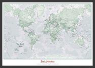 Medium Personalised World Is Art - Wall Map Rustic (Wood Frame - Black)