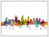 Small Perth Australia Watercolour Skyline (Wood Frame - White)