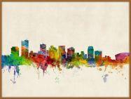 Large Phoenix Arizona Watercolour Skyline (Pinboard & wood frame - Teak)