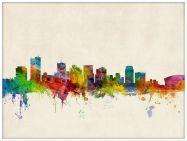 Large Phoenix Arizona Watercolour Skyline (Pinboard & wood frame - White)