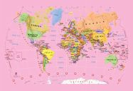 Pink Children's World Map Wallpaper