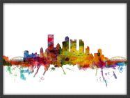 Medium Pittsburgh Pennsylvania Watercolour Skyline (Pinboard & wood frame - Black)