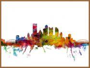 Large Pittsburgh Pennsylvania Watercolour Skyline (Wood Frame - Teak)