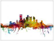 Large Pittsburgh Pennsylvania Watercolour Skyline (Wood Frame - White)