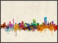 Large Pretoria South Africa Watercolour Skyline (Wood Frame - Black)