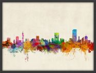 Medium Pretoria South Africa Watercolour Skyline (Pinboard & wood frame - Black)